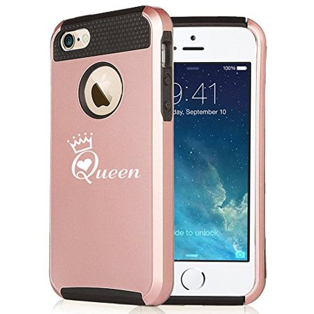 Apple iPhone 6 6s Rose Gold Shockproof Impact Hard Case Cover Queen with Crown (Rose Gold / Black),MIP