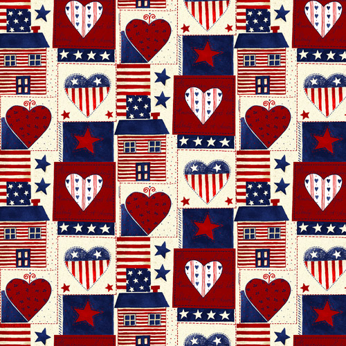 """David Textiles """"Americana Heart"""" Cotton Fabric by the Yard, 44"""" wide"""
