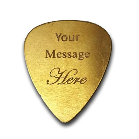 Personalized Add Your Own Engraved Text Guitar and Bass Pick Custom Customizable Gift BRASS