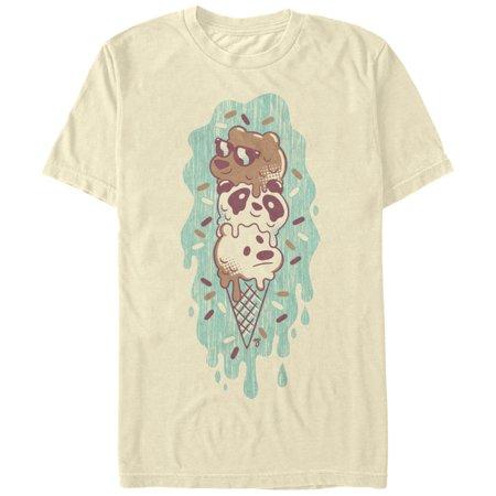 Fifth Sun We Bare Bears Green Ice Cream Mens T-shirt Cream