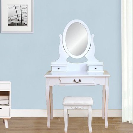 Fabulous Ubesgoo Vanity Makeup Dressing Table Set With Stool 3 Drawer Mirror White Lamtechconsult Wood Chair Design Ideas Lamtechconsultcom