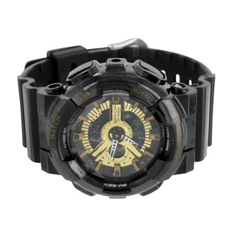 Mens Sports Watches Shock Resistant Black Gold Silicone Band Digital Analog