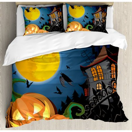 Ambesonne Halloween Gothic Haunted House Party Theme Decor Trick or Treat for Kids Duvet Cover Set