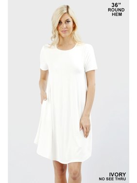 bf79c17d766 Product Image Women Short Sleeve Round Hem A-Line Tunic Dress with Side  Pockets