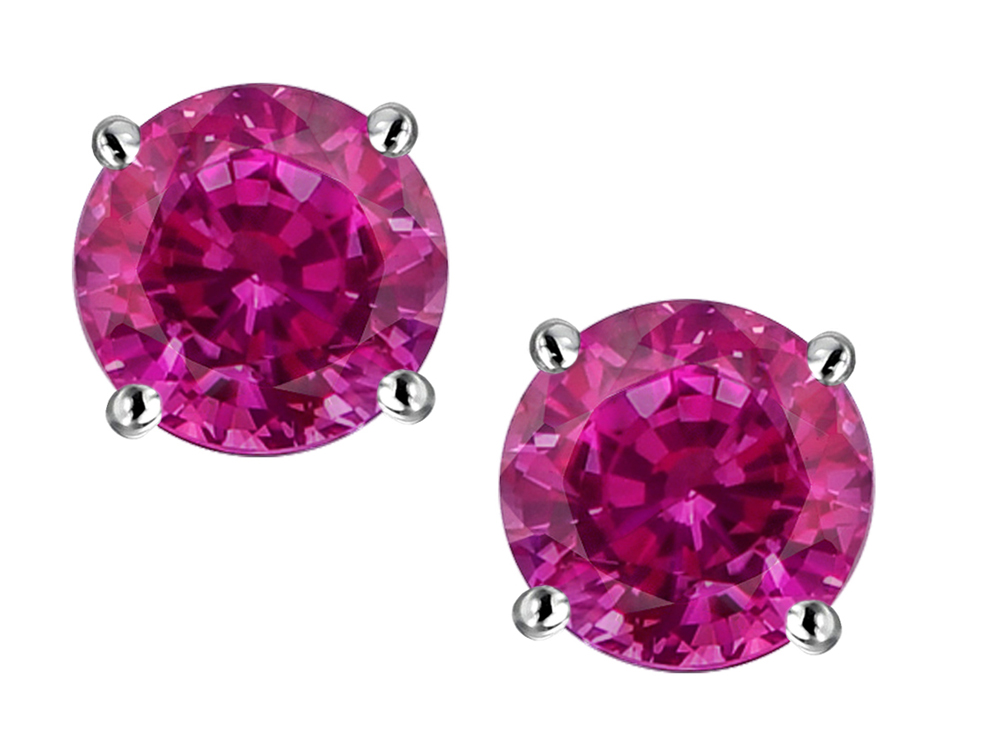 Star K Round 6mm Simulated Pink Tourmaline Screw Back Stud Earrings in 14 kt White Gold by