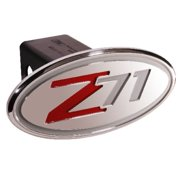 Chevy - Z71 (2001-2005) - Silver & Red - Oval - 2 Inch Billet Hitch Cover