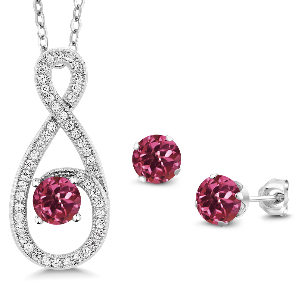 2.10 Ct Round Pink Tourmaline 925 Sterling Silver Pendant Earrings Set by