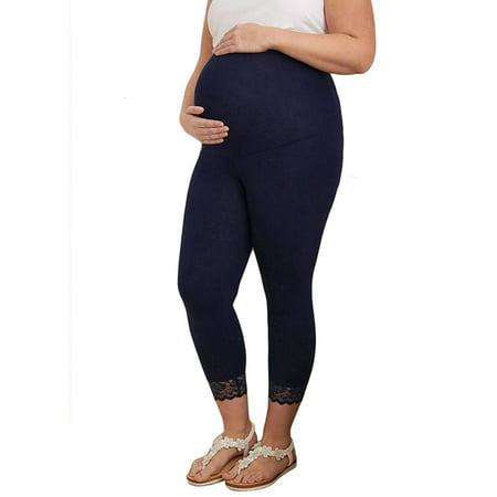 a03e852342890 sparkies - Maternity Clothes Pregnancy Trousers For Pregnant Women Casual  Leggings Lace Ninth Pants - Walmart.com