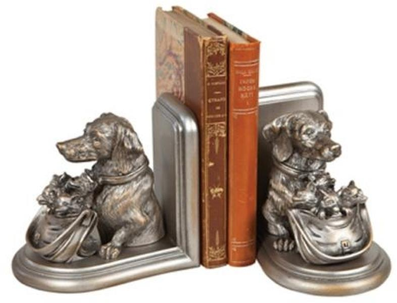 Bookends Bookend Dog with Basket of Fox Kits Cast Resin New Hand-Cast Ha OK-1543 by