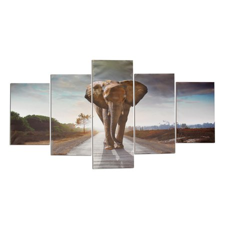 Elephant Home Decor (Mrosaa 5Pcs/Set Large Abstract Elephant Canvas Print Art Picture Home Wall Hanging Decor Unframed )
