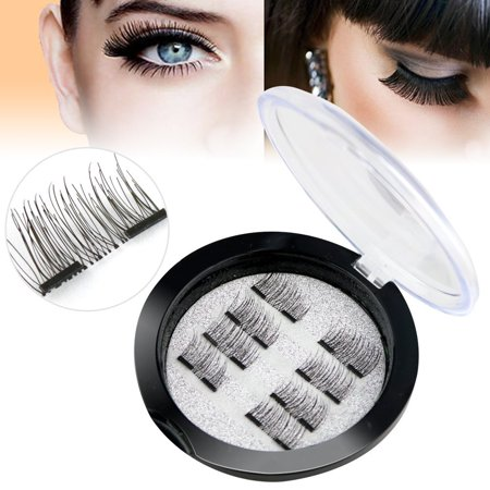 Asavea New Dual Magnetic False Eyelashes - 2 Pairs (8 Pieces) Ultra Thin 3D Fiber Reusable Best Fake Lashes Extension for Natural, Perfect for Deep Set Eyes & Round Eyes (8 pcs)