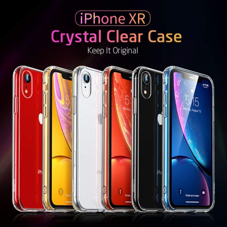 Mimic Series Glass Case for iPhone XR, by ESR 9H Tempered Glass Back Cover Scratch Resistant, Soft Silicone Bumper Shock Absorption , Clear/Red Blue Crystal - image 2 de 9