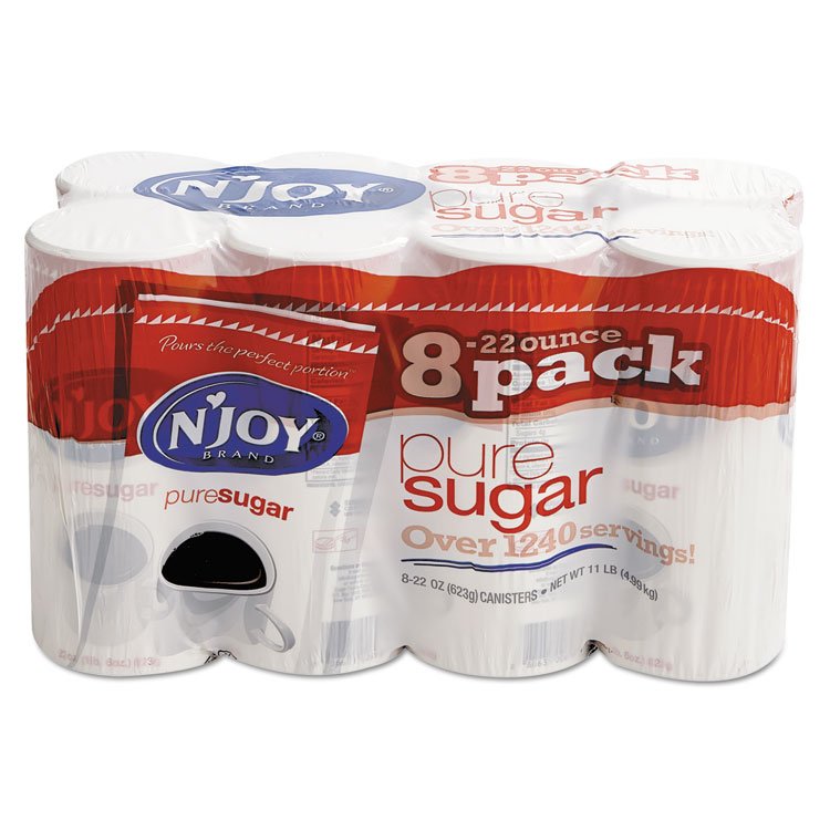 N'Joy Pure Sugar Cane, 22 oz Canisters, 8 per Carton - NJO827820
