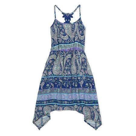 The Children's Place Lace-Back Paisley Print Sharkbite Dress (Big (Best Places For Dresses)