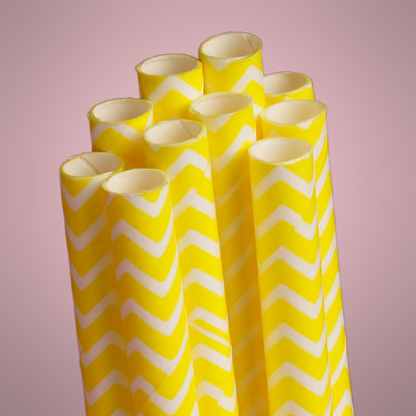10 ct. Yellow Chevron Paper Straw | Quantity: 10 | Length - 7 3/4"