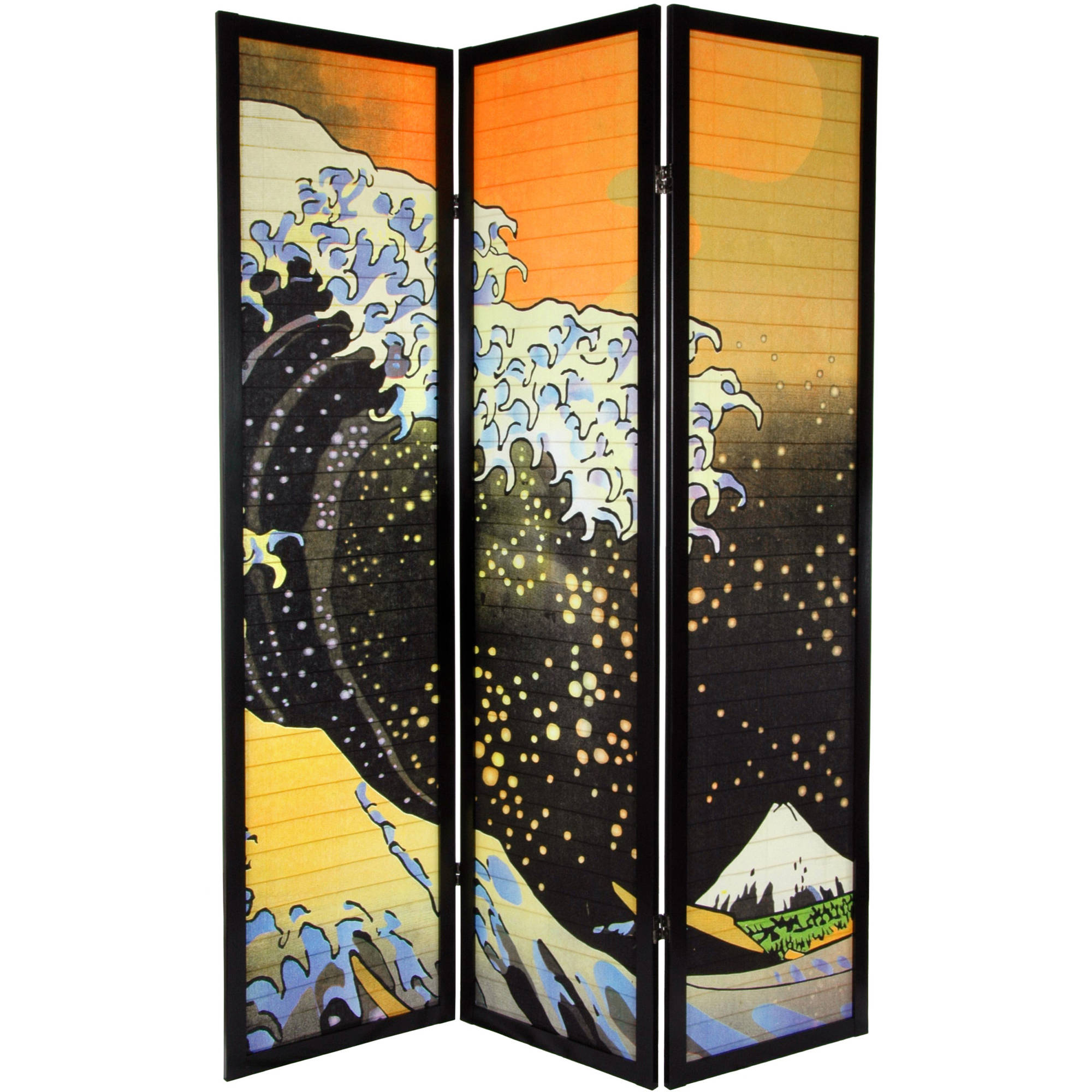 6' Tall Japanese Wave Shoji Screen, 3 Panels