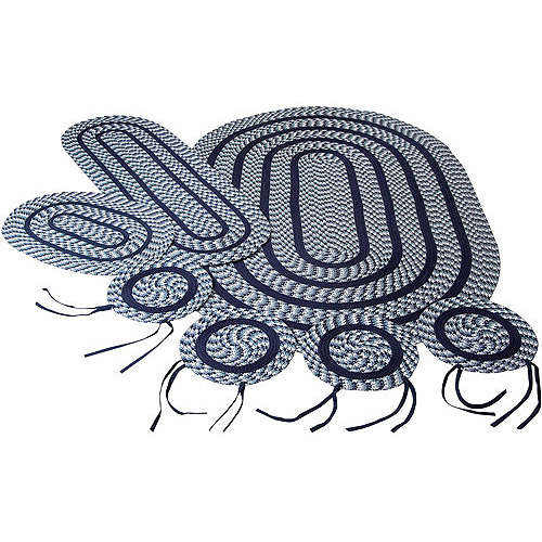 Crescent Braided Rug 7-Piece Set with Room Size Rug and Accessories, Navy by Pam Overseas LLC