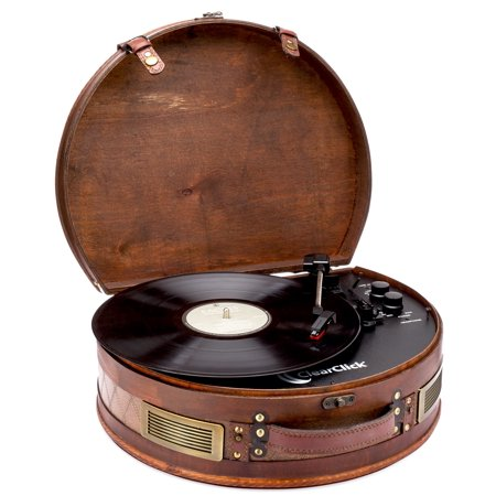 ClearClick Vintage Suitcase Turntable with Bluetooth & USB - Classic Wooden Retro