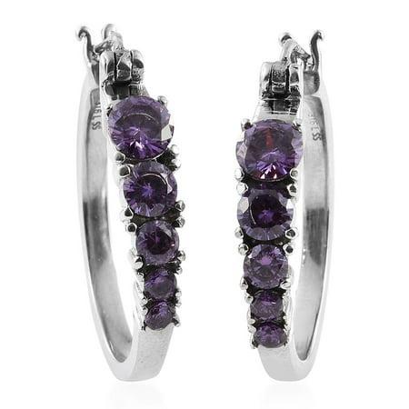 Purple Cubic Zirconia Stainless Steel Hoop Earrings Tgw 5 860 Ct
