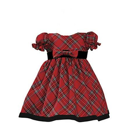 Lito Girls Plaid Christmas Holiday Dress with Velvet Trim - Toddler (3T Red) - image 1 de 1