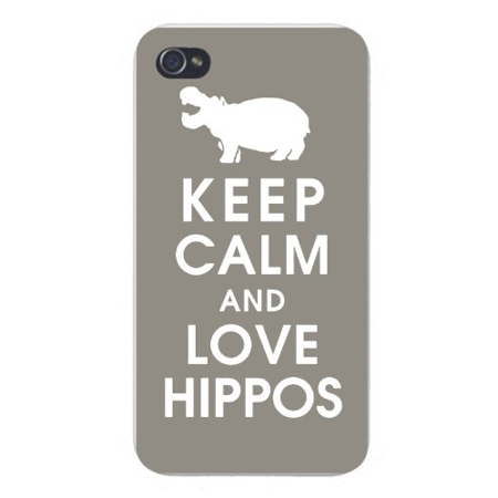 Apple Iphone Custom Case 4 4s White Plastic Snap on - Keep Calm and Love Hippos White Silhouette (Hippo Iphone 4 Case)