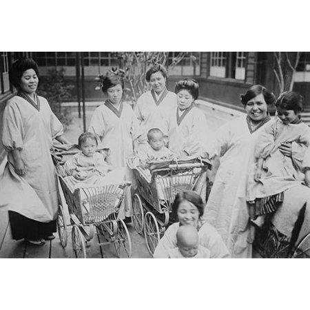 Traditionally costumed Japanese Mothers with their infants in Perambulators or Baby Carriages entitled Crche Poster Print by unknown (Baby And Mom Halloween Costumes)