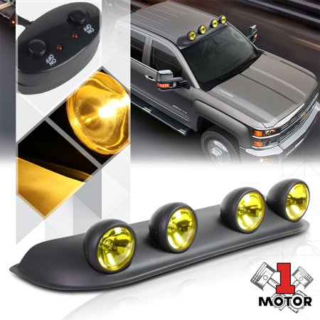 Yellow Lens Universal 4x4 Off-Road Roof Mount Fog Light Lamp w/Switch+Harness