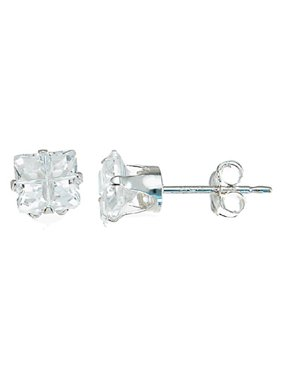 Cubic Zirconia Stud Earrings For Women Makes Unique Birthday Gift For Girlfriend, Princess Cut Sterling Silver Stud Earrings