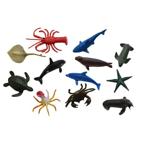 Ocean Animal Figurines - Mini Animal Action Figures Replicas - Miniature Ocean, Fish, Aquatic Toy Animal Playset