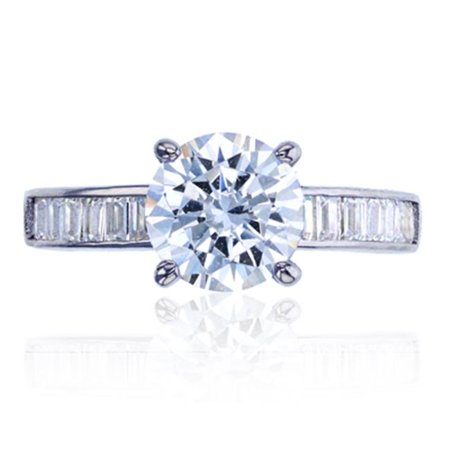 YGI SZR4132W2W-7 Sterling Silver Rhodium 8 mm. Round Cut Engagement Ring, Size - 7 - image 1 of 1