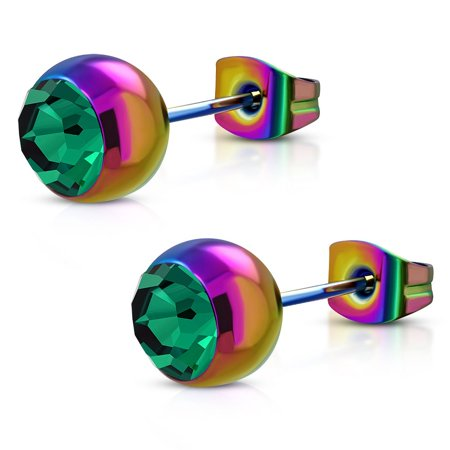 8mm Rainbow Anodized Stainless Steel Bezel Set Bead Ball Stud Earrings with Emerald CZ pair