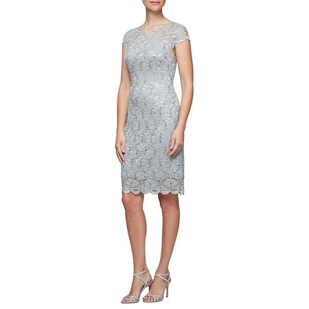 Alex Evenings Sleeveless - Petite Sequin-Embellished Floral Lace Shift Dress
