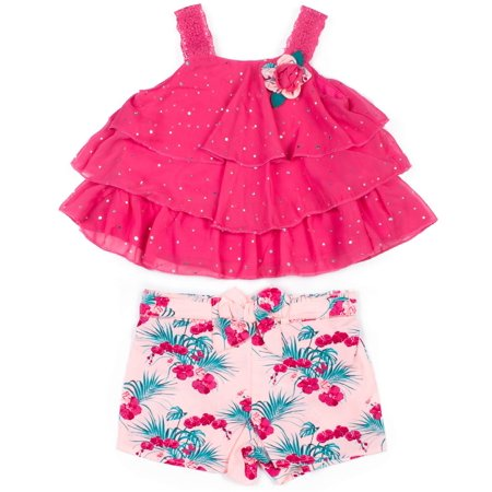 Floral Outfit Girl - Sleeveless Tiered Top & Floral Shorts, 2-Piece Outfit Set (Toddler Girls)