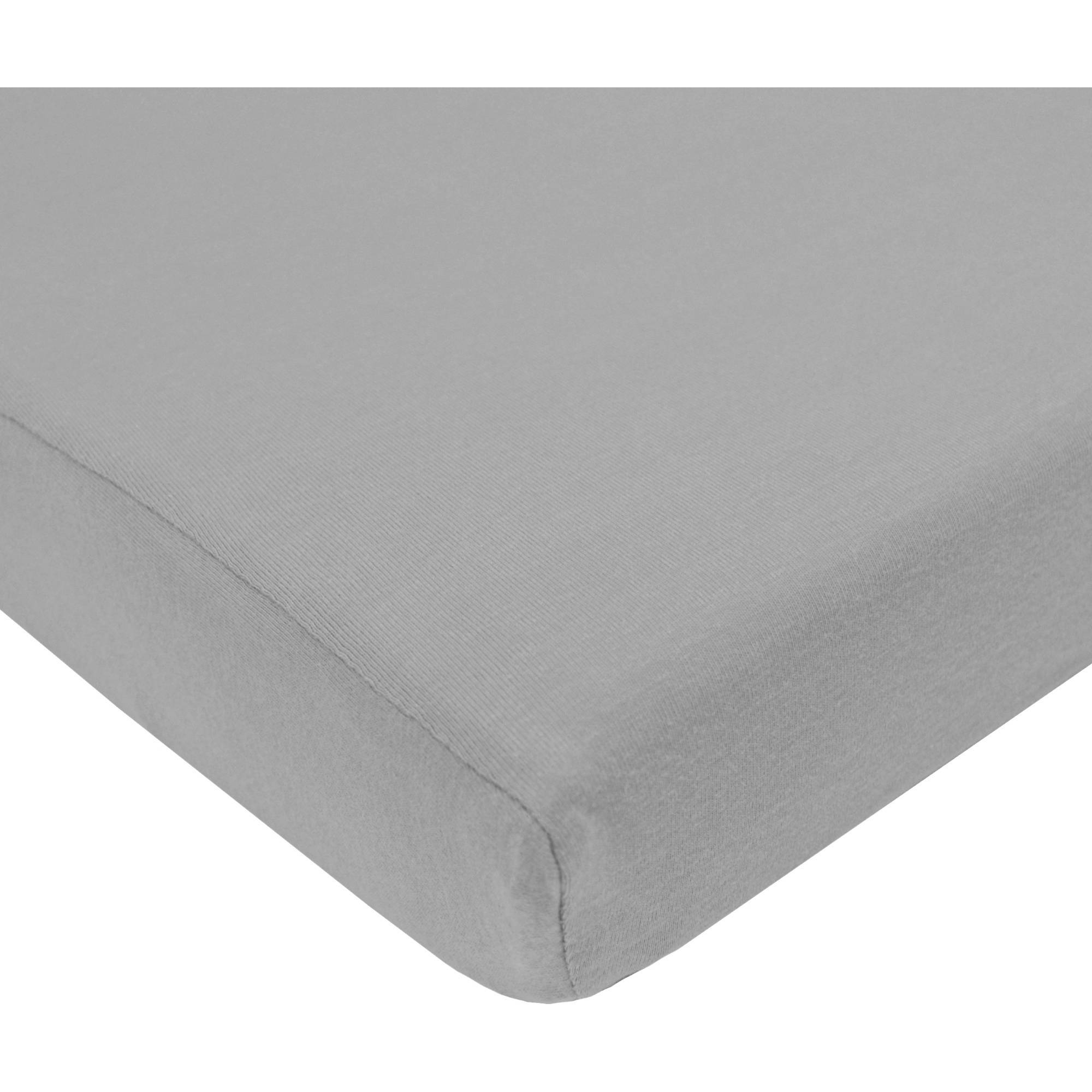 TL Care Cotton Jersey Knit Pack-N-Play Sheet, Grey
