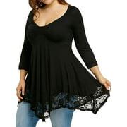 Arttop Plus Size Women Long Sleeve Lace Blouse Shirt Long Tunic Tops