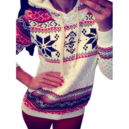 Newstar CH0217WS Pullover Hoodies Sweatshirt for Womens, Long Sleeve Christmas Pattern Pocket Pullover Hoodies Tops for Women, Hooded Tops Jumper Coat for Women, S-XL