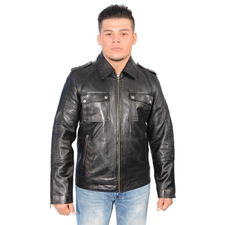 Mens Black Leather Patch Pocket Jacket W Shirt Collar And Padded Elbows