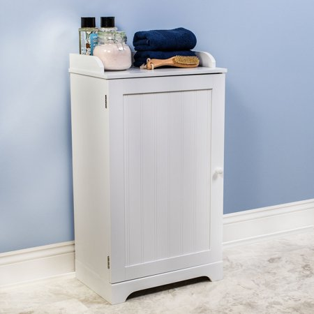 White Bathroom Furniture - Free Standing White Bathroom Floor Storage Cabinet Organizer Adjustable Shelf