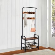 Industrial Coat Rack Shoe Bench, Hall Tree Entryway Storage Shelf, Wood Look Accent Furniture with Metal Frame, 3 in 1 Design, Easy Assembly