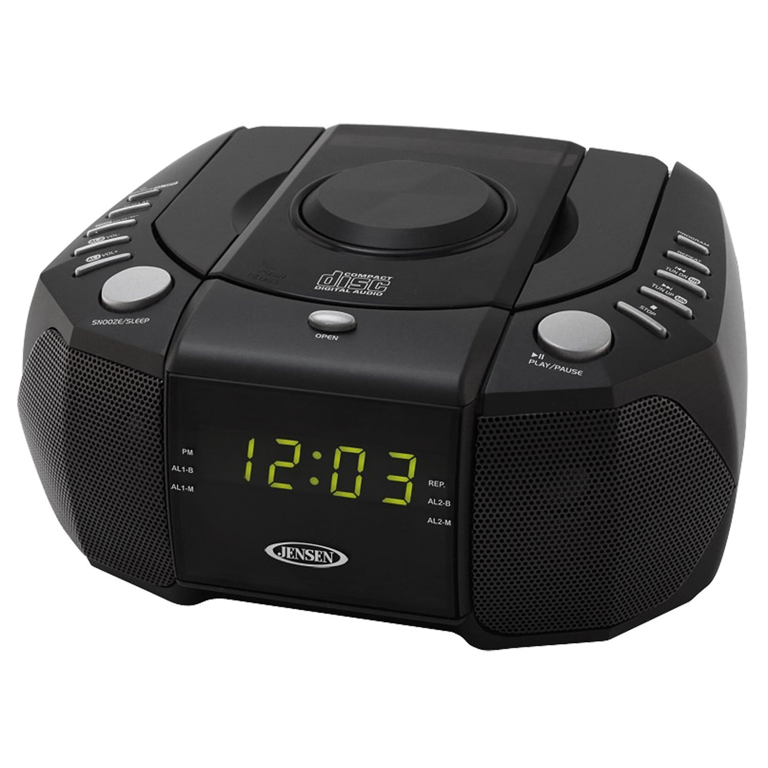Jensen Compact Dual Alarm Clock Radio with Top_Loading CD...
