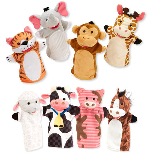Melissa & Doug Animal Hand Puppets (Set of 2, 4 animals in each) Zoo Friends and Farm... by Melissa %26 Doug