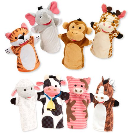 Melissa   Doug Animal Hand Puppets  Set Of 2  4 Animals In Each    Zoo Friends And Farm Friends