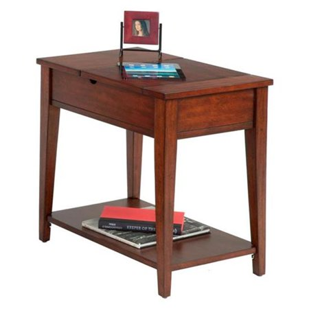 Chairsides Transitional Style Chairside Table with Flip Open Top, Poplar Birch - Birch Veneer Top