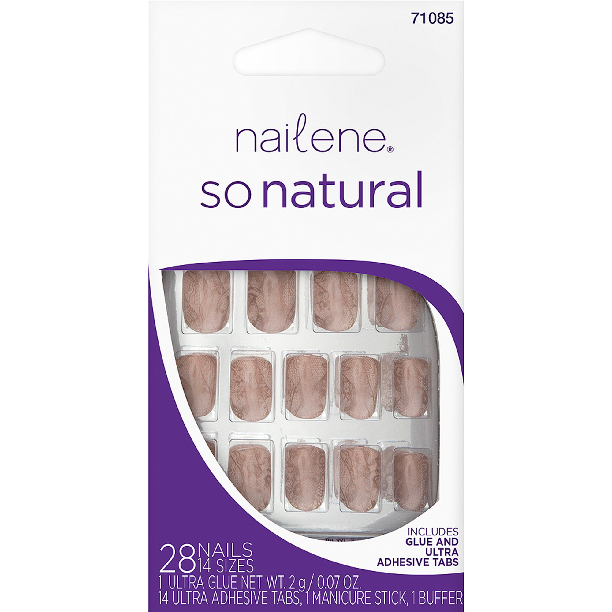 Nailene So Natural Lingerie Lace Glue-On Nails Set, 45 pc