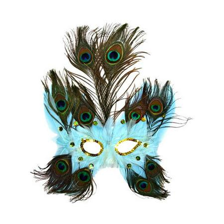 Light Blue Butterfly Peacock Feather Mask - Walmart.com