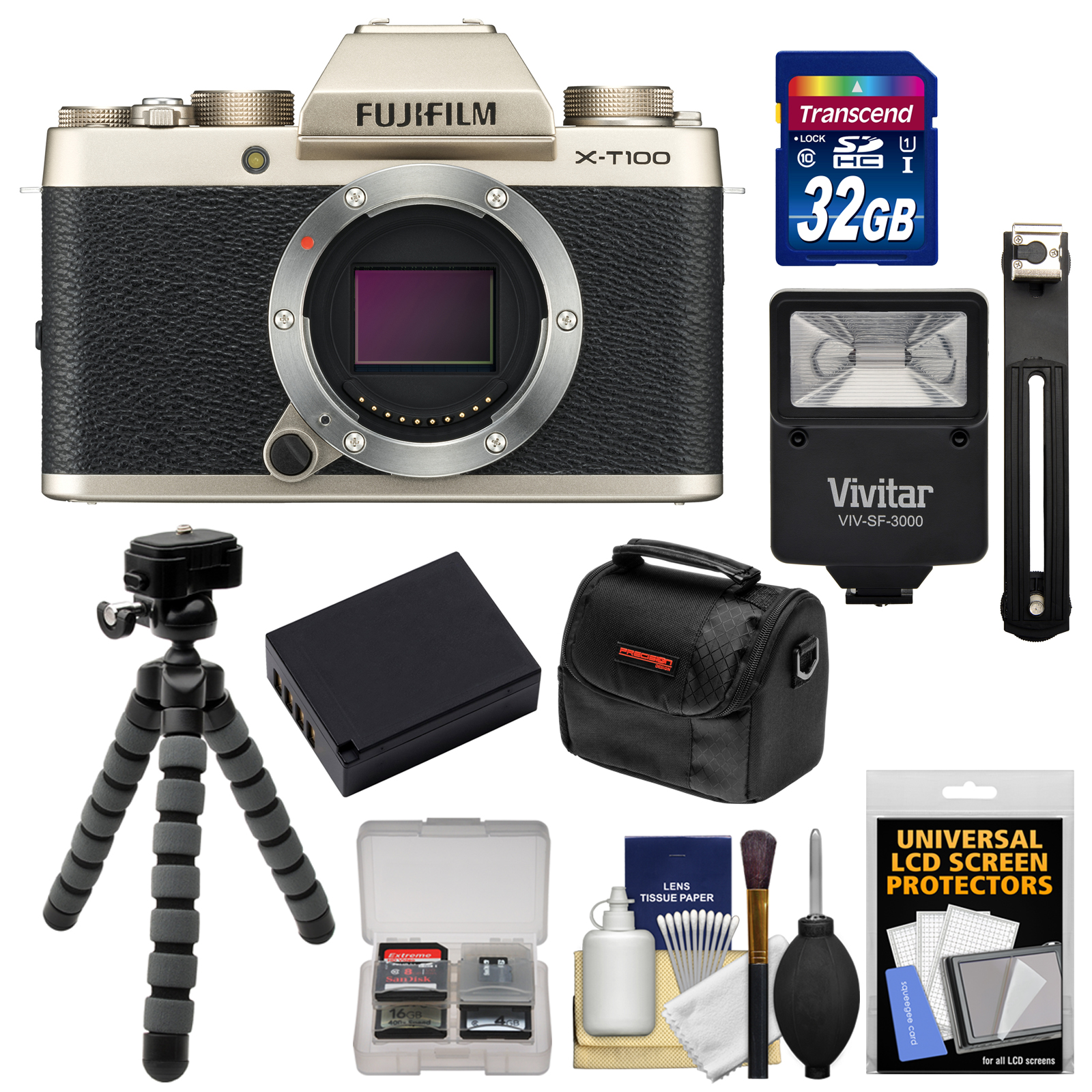Fujifilm X-T100 Digital Camera Body (Champagne Gold) with 32GB Card + Battery + Tripod + Flash + Case + Kit