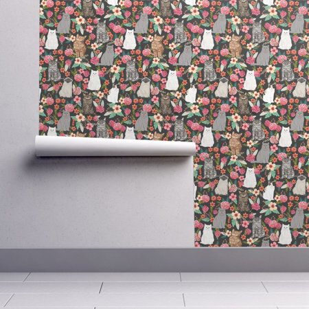 Wallpaper Roll or Sample: Cats Cat Flowers Florals Cute Cat Cat Lady Kitty](Cute Halloween Cats Wallpaper)