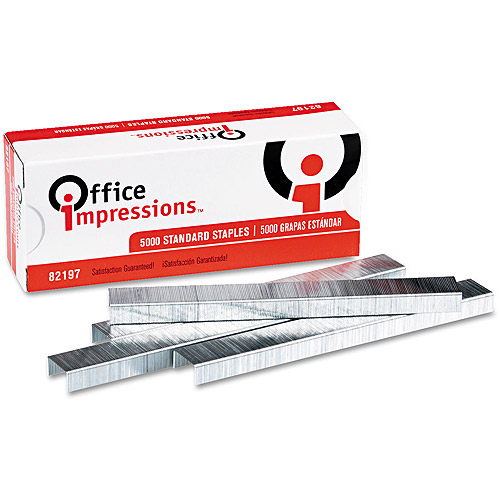 Office Impressions Standard Staples, 5 Boxes - 5,000 staples/Box