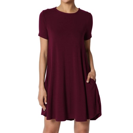 Trapeze Tunic Top (TheMogan Women's S~3X Short Sleeve Crew Neck Draped Trapeze Pocket Short Tunic Dress )