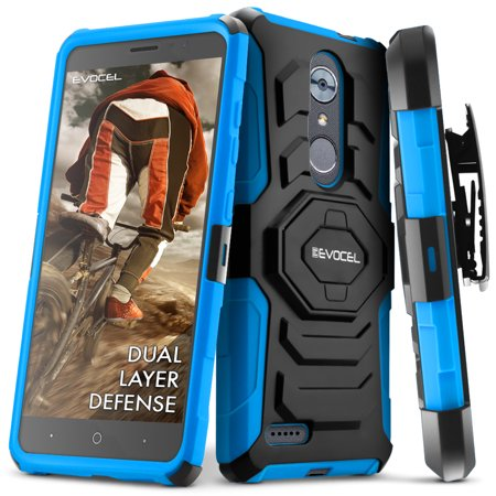 Zte Max Xl Case  Evocel  New Generation  Rugged Holster Dual Layer Case  Kickstand  Belt Swivel Clip  For Zte Max Xl  N9560    Zte Z986   Blue  Evo Zten986 Xx02